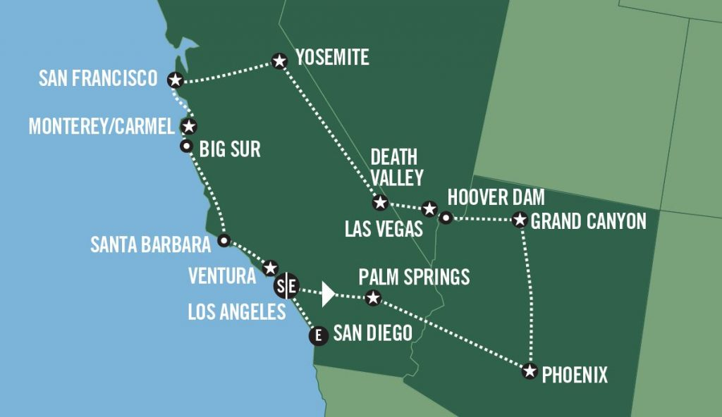 San Francisco To Los Angeles Map.Roadtrip I Usa Best Of The West Usa Spesialisten