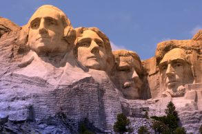 Mount Rushmore National Memorial in South Dakota featuring four famous US presidents (fitered image)